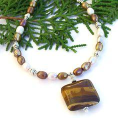 #Southwest Picture #Jasper #Necklace, #Pearls #Handmade Beaded Artisan Jewelry by @ShadowDog #ShadowDogDesigns #Indiemade - $45.00