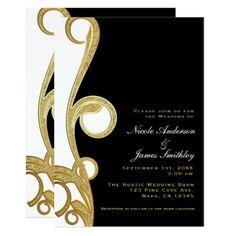 White Gold Black Chic Elegant Swirl Wedding Card