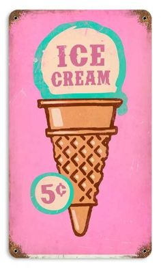Retro Ice Cream Cone Metal Sign 8 x 14 Inches - Tea party - Helados Ice Cream Sign, Ice Cream Art, Cherry Ice Cream, Ice Cream Parlor, Pink Lady, Vintage Ice Cream, Cone, Ice Cream Social, Vintage Metal Signs
