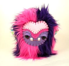 Stuffed Animal Cute Plush Toy Monster Tween Girl's Gift Kawaii Plushie Hot Pink and Purple Fur Toy 7 inches tall medium size by TheJaeBird on Etsy