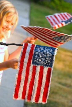 Great 4th of July crafts and food. rag flags craft for 4th of july