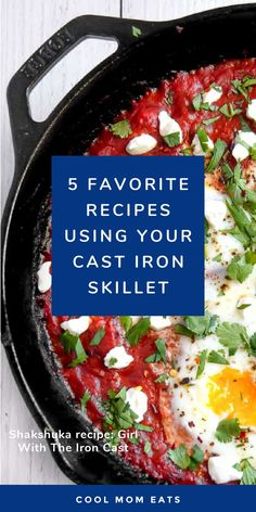 Change up family dinners with these 5 cast iron skillet recipes. They inspire you do more with your cast iron skillet than you might have guessed! From this Shakshakua from The Girl with the Iron Cast, to salads and even desserts. #castironrecipe #shakshuka #mealplanning #familydinner #dinnerideas #dinnerrecipe Iron Skillet Recipes, Cast Iron Recipes, Skillet Meals, Easy Weeknight Dinners, Easy Meals, Appetizer Recipes, Dinner Recipes, Shakshuka Recipes, Meals For The Week