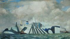 Would Devon's 'dazzle' camouflage have saved the Lusitania? Seascape Paintings, Your Paintings, Dazzle Camouflage, Steam Boats, Art Society, Razzle Dazzle, Art Uk, Ship Art, Battleship