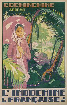 affiche vintage de promotion de la ville de Hanoi au Vietnam datée de 1931…