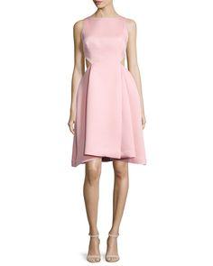 Halston Heritage Ali Sleeveless Side-Cutout Dress, Parfait Pink