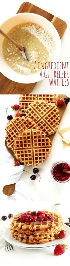 7 ingredient vegan gluten free waffles that require less than 30 minutes! Wholesome naturally sweetened and customizable with spices and fruit!