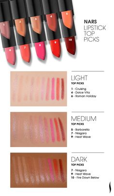 Our favorite NARS lipsticks - swatched. Which is your favorite? #Sephora