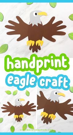 Make this handprint eagle craft with your preschool chilidren to celebrate July or use as a fun craft when learning about North American animals! Animal Crafts For Kids, Paper Crafts For Kids, Toddler Crafts, Projects For Kids, Fun Crafts, Birds For Kids, Art For Kids, Eagle Craft, North American Animals