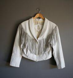 Vintage SLOANE 80s White FRINGE Leather Jacket medium by heightofvintage