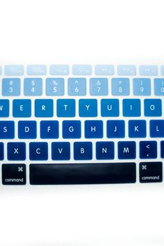 Perfect gift for the person who loves tech and gadgets! This silicone keyboard cover slips easily on to appropriate keyboards. Available in rainbow blue ombre and floral print.  Fits MacBook Pro & IMac keyboards Fun Keyboard Covers by The House of Perna. Home & Gifts - Gifts Delray Beach Florida