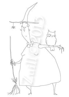 Cartoon style Witch and Owl Hand Embroidery Pattern by etsy seller badbird