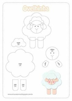 sheep pattern to make out of paper or felt Felt Templates, Applique Templates, Applique Patterns, Sheep Template, Sheep Crafts, Felt Crafts, Paper Crafts, Sewing Crafts, Sewing Projects
