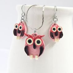 Pink Owl Earrings and Pendant Set Eco Friendly Fall Fashion Handmade by Paper Quilling Artisan Jewelry