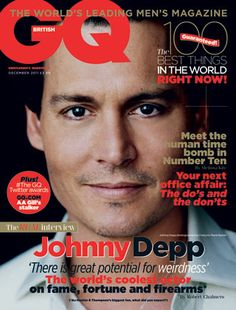 Johnny Depp on British GQ - December 2011 Gq Magazine Covers, Fashion Magazine Cover, Magazine Rack, Johnny Depp Fans, Here's Johnny, I Am Amazing, Gq Style, Captain Jack Sparrow, Male Magazine