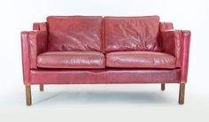 Red Leather Sofa by Børge Mogensen
