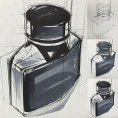 Learn how to draw Ink bottle drawing Bottle Drawing, Presentation Techniques, Drawing Exercises, Hand Sketch, Sketch Ink, Sketches Tutorial, Industrial Design Sketch, Cool Curtains, Interior Sketch