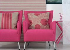 Fabrics and Wallpapers by Chivasso products are modern, and can be used not only in young fun interiors but also in rich classical interiors. Armchair, Fabrics, Living Room, Wallpaper, House Styles, Interior, Modern, Pink, Color