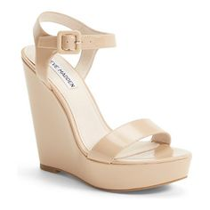 STEVE MADDEN prestine wedge sandal found on Nudevotion These are PERFECT! try to keep with a solid patient leather wedge like this, not just rope/cork. PLEASE make sure they are nude and not brown.