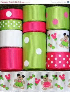 SPRING SALE Grosgrain Ribbon Lot Mix Minnie by FaithRibbonsDotCom
