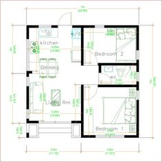 Modern Bungalow House, Modern Tiny House, Modern House Plans, Small House Plans, House Floor Plans, Small House Layout, Small House Design, House Layouts, Interior Modern