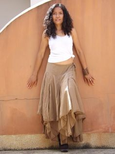 Boho Long Skirt .....Long Skirt ...Color Brown by Ablaa on Etsy, $50.00