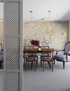 The Zhush: Style Stalking Jean Liu Design / metallic wallpaper, Louis chair