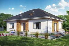 Projekt domu parterowego Heros bez garażu o pow. 131,6 m2 z dachem kopertowym, z tarasem, sprawdź! Teak, Exterior, Outdoor Structures, Cabin, House Styles, Outdoor Decor, Home Decor, House Siding, Decoration Home