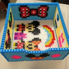 Mickey and Minnie Mouse box perler beads by mightyatomc - Pattern: https://www.pinterest.com/pin/374291419011155683/