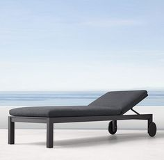 "RH's Aegean Aluminum Chaise:Influenced by the low, linear silhouettes of seaside architecture, our contemporary collection is designed by a family-owned company in Australia known for its meticulous metalwork. Its superior materials and simple geometry enable it to weather the elements in enduring style. WATCH THE FILM ""BENDING THE TUBE"" FEATURING THE CONDOS BROTHERS ▸"