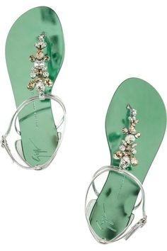 Giuseppe Zanotti Swarovski Crystal Embellished Leather Sandals in Silver - Lyst Cute Shoes, Me Too Shoes, Leather Sandals, Shoes Sandals, Strap Sandals, Strappy Flats, Keds, Clear Shoes, Giuseppe Zanotti Heels