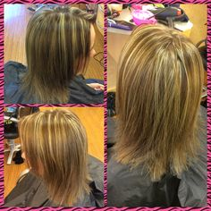 Took her from a solid level 5 brown & weaved in heavy platinum highlights.