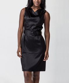 Take a look at this Black Satin Belted Dress by Amelia on #zulily today!
