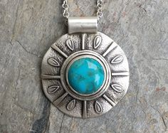 Turquoise Necklace in Sterling Silver. Designer Cabochon Jewelry for Charity. NC70