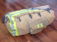 could be a cool gift.Duffle bag made of upcycled bunker gear - MADE TO ORDER Firefighter Crafts, Firefighter Paramedic, Female Firefighter, Firefighter Quotes, Fire Dept, Fire Department, Fire Hose, Cool Gear, Fire Fighters