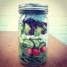 Pin for Later: 25 Mason-Jar Salad Recipes to Make Co-Workers Jealous Spinach and Avocado Salad