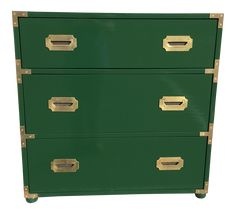 Handsome little campaign chest in high gloss hunter green. Hardware is original with a slight patina which lends to it's authenticity. Would pair well in a modern or masculine design Green Furniture, Upcycled Furniture, Green Boys Room, Lowboy Dresser, Campaign Dresser, Green Dresser, Changing Table Dresser, Dressers For Sale, Night Table