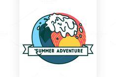 Color vintage summer season emblem by Netkoff on @creativemarket
