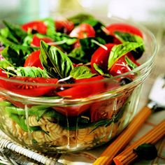 Italian Basil, Tomato, and Pasta Salad This fresh side salad recipe, perfect for a potluck or cookout, uses lots of basil. Make it when basil is in full supply, in the garden or at the market, during the height of summer.