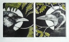 Crow & Rook by Louise Scott (etching)