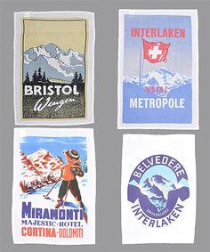 Vintage Ski Travel Graphic Tea Towels