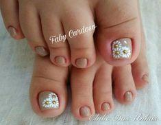 Ideas for nails art sencillo flores Pretty Toe Nails, Cute Toe Nails, Toe Nail Art, Love Nails, My Nails, Toenail Art Designs, Feet Nails, Super Nails, Manicure And Pedicure