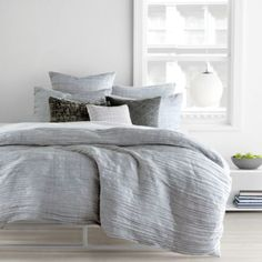 DKNY City Pleat Grey Duvet Cover, Full/Queen | Bloomingdale's