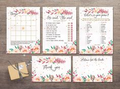 """Bridal Shower Games Printable, Floral Bridal Shower Games. Boho Inspired Bridal Printables. Matching bridal shower invitation and other cards available at: <a href=""""http://tranquillina.etsy.com"""" rel=""""nofollow"""" target=""""_blank"""">tranquillina.etsy...</a>"""
