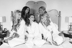 Bridesmaids Fur Robes Black and White Photo | kohl-mansion-san-francisco-wedding-photography-aaronjaclyn