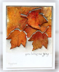 My card for a technique challenge on SCS to create Metallic Tissue Paper! I used this die for the leaf from Penny Black Autumn Jewe...