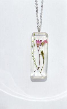Pressed Flower Necklace Botanical Flower Jewelry by LOVEnLAVISH,
