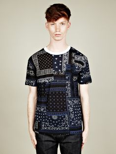 Adidas x Opening Ceremony Men's Paisley Patchwork T-Shirt in dark indigo / white at oki-ni