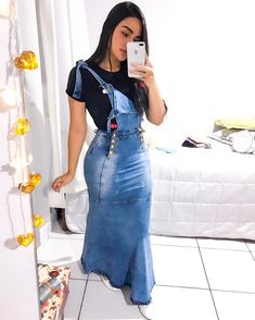 Women's Ruffle Hem Strap Long Denim Dresses Washed Skinny Pencil Dress Plus Size Jeans Dress Overalls Fashion, Overalls Women, Denim Fashion, Girl Fashion, Denim Skirt Outfits, Jeans Dress, Chic Outfits, Denim Dresses, Denim Skirts
