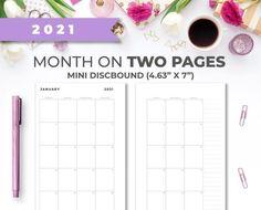 2021 Mini Discbound 4.63 X 7 Minimal Printable image 0 Weekly Planner Printable, Monthly Planner, Insert Image, Mini Happy Planner, Printer Paper, Planner Inserts, Hourglass, Planner Ideas, Minimal