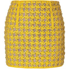 BALMAIN Mini Skirt with Crystals in Dark Yellow ($6,120) ❤ liked on Polyvore
